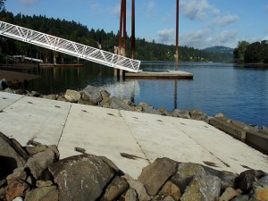 A precast concrete boat ramp build on the Columbia River