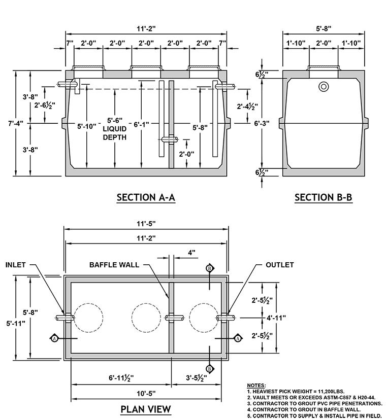 2000 Gallon Grease Interceptor 5106 Columbia Precast