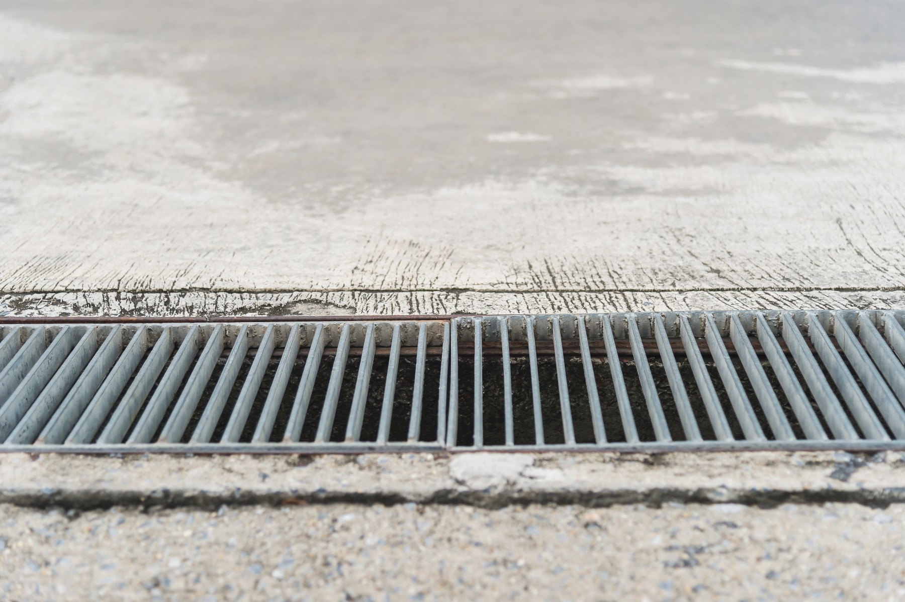 Storm water drain on concrete